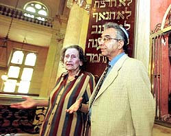 Lina Mattatia and Meir Mishan, the Israeli consul in Alexandria, stand by a special chamber at the front of the 150-year-old Eliyahu Hanavi synagogue in Alexandria, Egypt. (AP PHOTO, Amr Nabil)