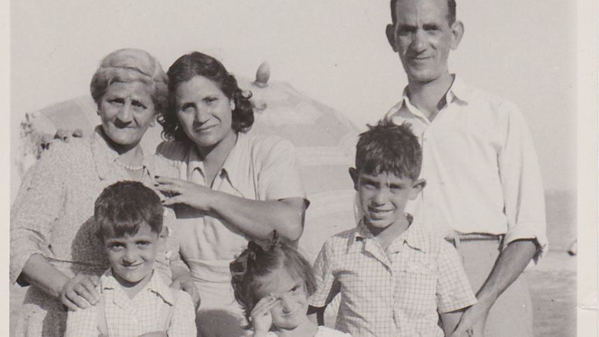 Israel Bonan and his family on vacation in Alexandria, Egypt, 1950s Israel Bonan